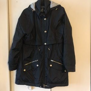 Calvin Klein raincoat with detachable hood black